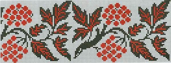 Схема вышивки рушника с калиной