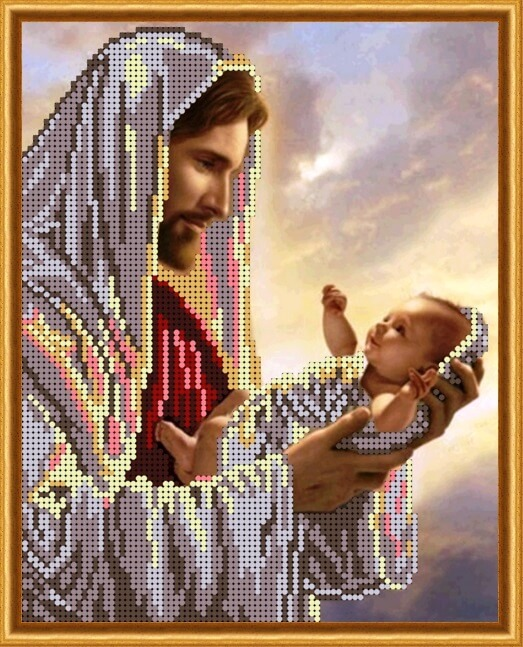 Схема для вышивания бисером Иисус и младенец 60f23ea75f3a4
