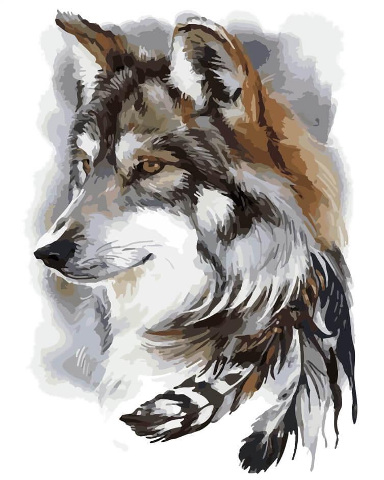 Рисунок с волками, стихами любимому