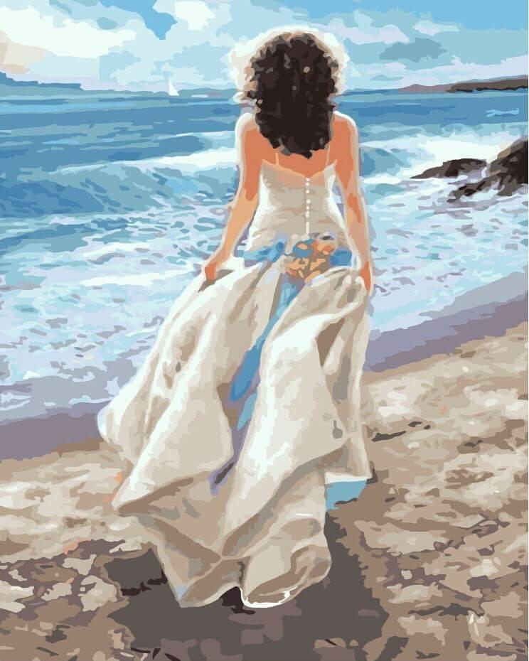 Открытка женщины у моря, смешные картинки
