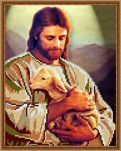 Схема для вышивания бисером Иисус и ягнёнок d8d9d0ba90f41